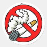 Muestra de no fumadores del dibujo animado etiquetas redondas