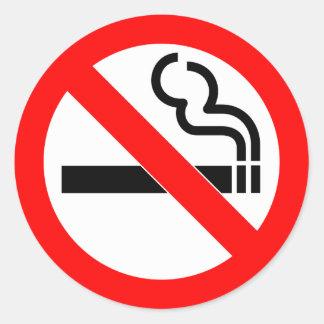 Muestra de no fumadores del símbolo oficial etiqueta redonda