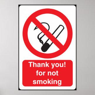 Muestra de no fumadores para su restaurante o nego póster
