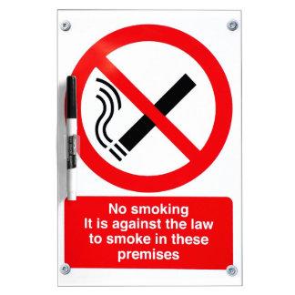 Muestra de no fumadores pizarras blancas de calidad