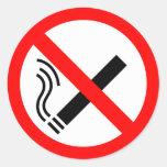 Muestra de no fumadores - señalización BRITÁNICA Pegatinas Redondas