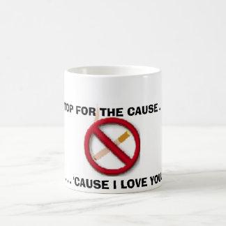 muestra de no fumadores tazas de café