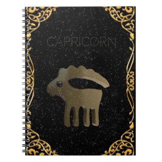 Muestra de oro del Capricornio Libro De Apuntes Con Espiral