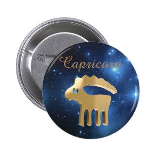 Muestra de oro del Capricornio Pin Redondo De 2 Pulgadas