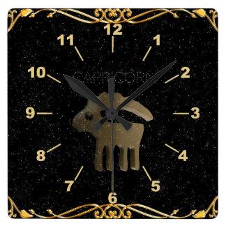 Muestra de oro del Capricornio Reloj Cuadrado