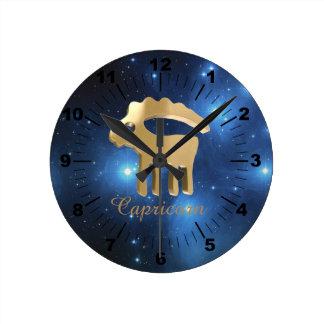 Muestra de oro del Capricornio Reloj Redondo Mediano