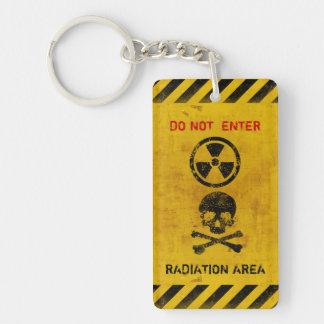 Muestra de peligro adaptable de radiación llavero rectangular acrílico a doble cara