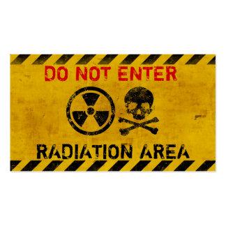 Muestra de peligro adaptable de radiación tarjetas de visita