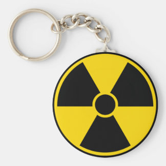 Muestra de peligro de radiación llavero redondo tipo pin