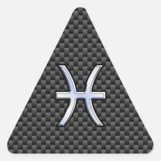 Muestra de plata del zodiaco de Piscis en la Pegatina Triangular