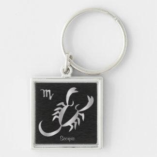 Muestra de plata del zodiaco del escorpión llavero cuadrado plateado