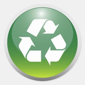 Muestra de reciclaje brillante pegatina redonda