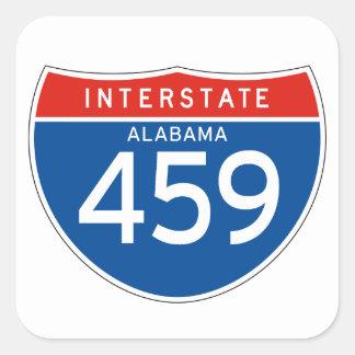 Muestra de un estado a otro 459 - Alabama Pegatina Cuadrada