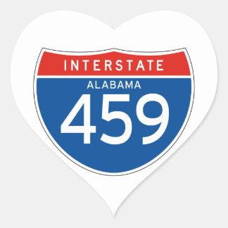 Muestra de un estado a otro 459 - Alabama Pegatina En Forma De Corazón