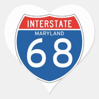 Muestra de un estado a otro 68 - Maryland Pegatina En Forma De Corazón