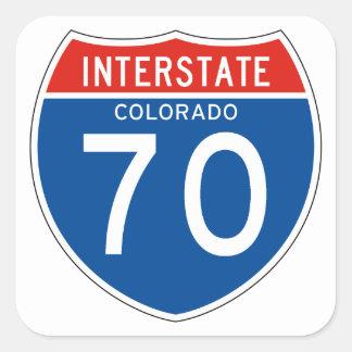 Muestra de un estado a otro 70 - Colorado Pegatina Cuadrada