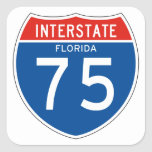 Muestra de un estado a otro 75 - la Florida Calcomanías Cuadradass Personalizadas