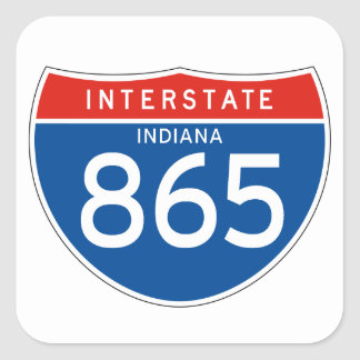 Muestra de un estado a otro 865 - Indiana Pegatina Cuadrada