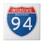 Muestra de un estado a otro 94 - Wisconsin Azulejo Cuadrado Pequeño