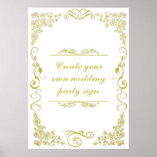 Muestra decorativa del banquete de boda de la póster