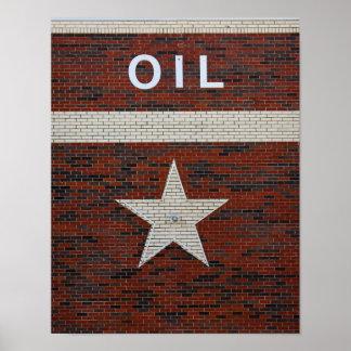 Muestra del aceite y de la estrella de Tejas Póster