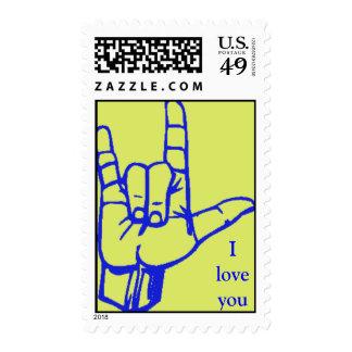 Muestra del amor (azul y amarillo) sellos