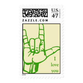 Muestra del amor (verde) sellos postales
