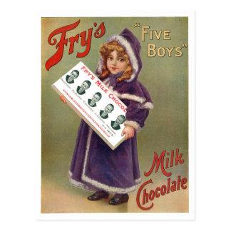 Muestra del anuncio del chocolate con leche de los tarjeta postal