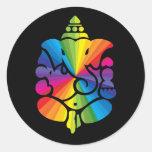 Muestra del arco iris de Ganesha Pegatinas Redondas