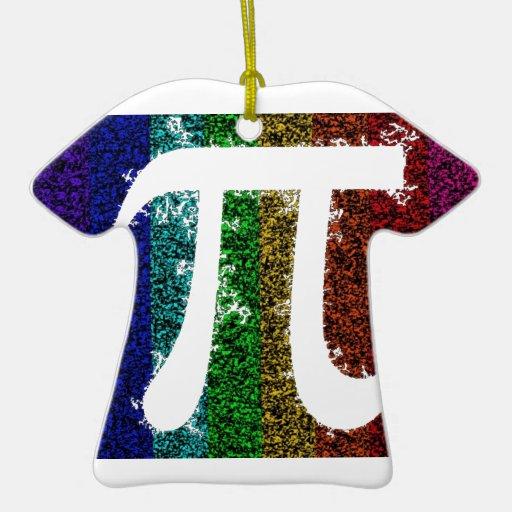 Muestra del arco iris pi adorno de cerámica en forma de camiseta