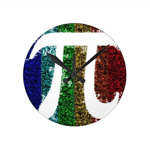 Muestra del arco iris pi reloj redondo mediano