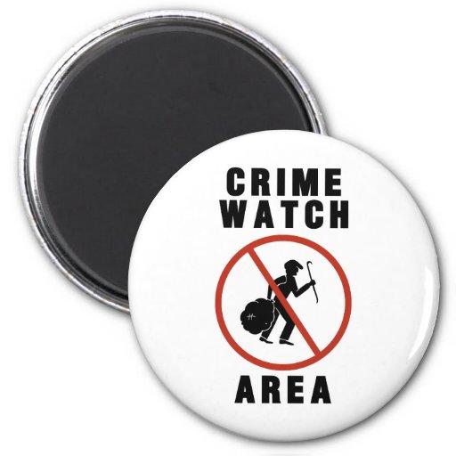 Muestra del área del reloj del crimen imanes