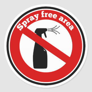 Muestra del área libre del aerosol pegatina redonda