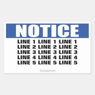 Muestra del aviso (5 líneas máximas) pegatina rectangular