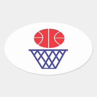 Muestra del baloncesto calcomanías ovaladas