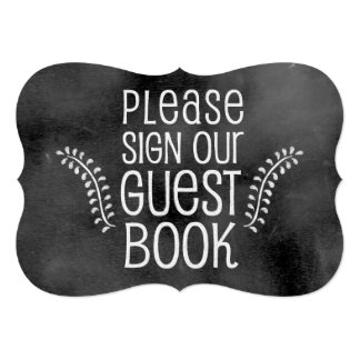 Muestra del boda de la pizarra: Guestbook de la Invitación 12,7 X 17,8 Cm