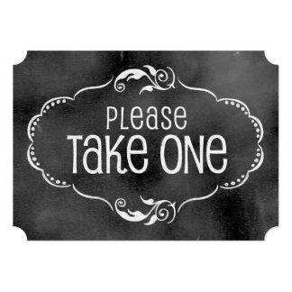 Muestra del boda de la pizarra: Tome por favor uno Invitación 12,7 X 17,8 Cm