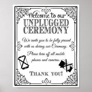 Muestra del boda desenchufada casando blanco negro póster