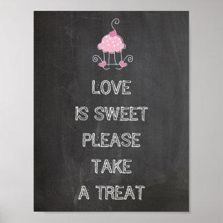 Muestra del boda - el amor es dulce toma por favor póster