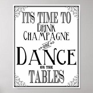 Muestra del boda su hora de beber el champán y la póster