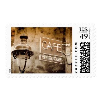 Muestra del café de la sepia, París, Francia Sellos