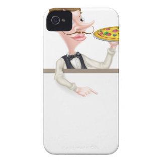 Muestra del camarero de la pizza funda para iPhone 4 de Case-Mate