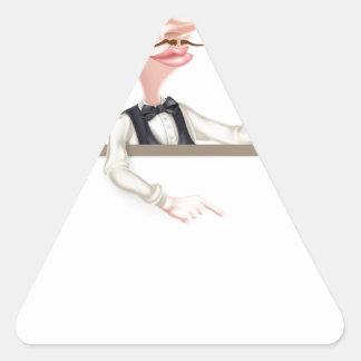Muestra del camarero de la pizza pegatina triangular