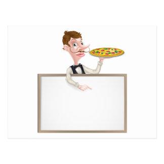 Muestra del camarero de la pizza postales
