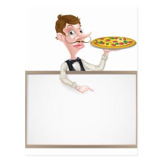 Muestra del camarero de la pizza tarjetas postales
