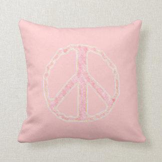 Muestra del ~ de la paz en el rosa almohadas