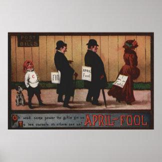 Muestra del día del inocente del vintage en perro póster