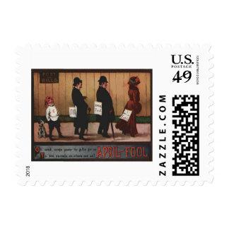 Muestra del día del inocente del vintage en perro sello postal