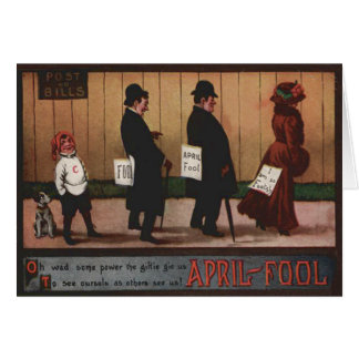 Muestra del día del inocente del vintage en perro tarjeta de felicitación