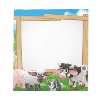 Muestra del dibujo animado de los animales del bloc de notas